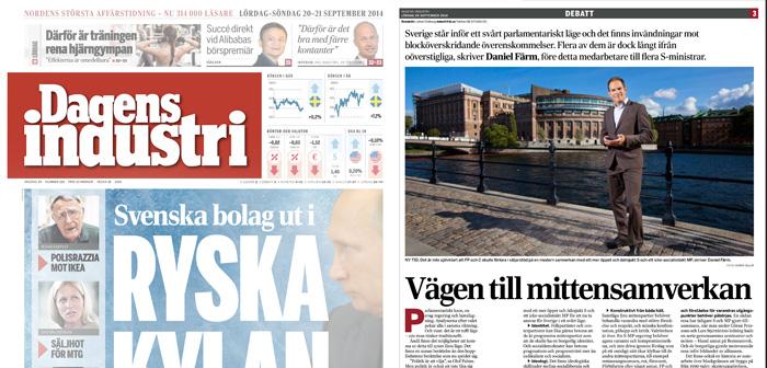 Daniel Färm, debattsidan Dagens industri